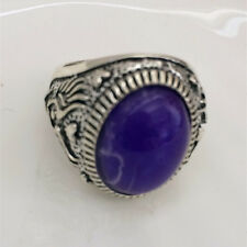 Vintage 316L Stainless Steel Vogue Design Mini Stone Ring Size 8 9 10 11 &!
