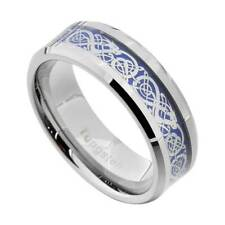 8mm Silvering Celtic Dragon Tungsten Carbide Ring Men's Jewelry Wedding Band