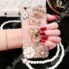 Luxury Bling Pearl Soft Gel Case Ring Holder Hand Strap Cover for iPhone 6 7plus