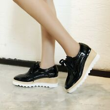 Stylish Womens Patent Leather Casual Shoes Wedge Heel Lace up Creeper Pump Shoes