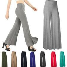 Womens Classic Comfy Chic Wide Leg Dance Palazzo Lounge Gaucho Zipper Pants