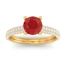 Red Ruby Sparkling IJ SI Diamonds Solitaire Gemstone Ring Women 18K Gold