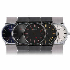 Round Dial Ultra Thin Casual Business Men Quartz Watch Steel Strap Watches WG