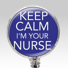 Nurse ID Badge Retractable Name Badge Holder - Keep Calm Badge Reel Blue Unique