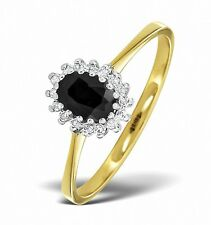 9K Gold Diamond & Sapphire Oval Cluster Ring Sizes F-Z Made in London