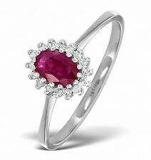 Ruby and Diamond Ring White Gold Cluster Engagement Size F - Z Certificate