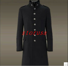 Fashion Men Single Breasted Woolen Military Uniform Silm Fit Casual Trench Coat