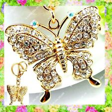 Rhinestone Crystal Gold Butterfly Purse Charms Keychains Bling Accessories lot
