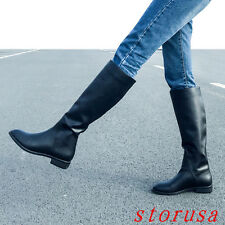 Retro Women Flat Heel Knight Boots Riding Knee High Boots Leather Black Shoes