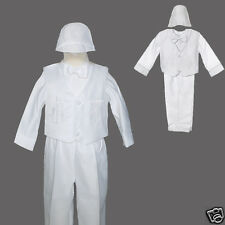 New Baby Boy White Christening Baptism 5 PC outfit size XS S M L XL (0M-24M)