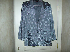 VINTAGE MENS SILVER LAME JACKET WITH  GREY LINING TONE ON TONE CHECK SIZE 42