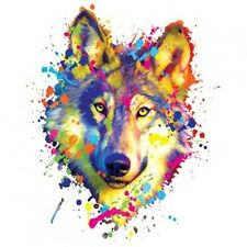 Rainbow Neon Wolf Head T-Shirt Colorful Blacklight Tee Youth and Adult Sizes