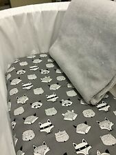 Bassinet/Boori/Moses basket fitted sheet grey, black white foxes and blanket set