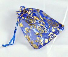 Blue Organza Rose Print Gift Bags 12cm x 9cm party wedding favours jewellery