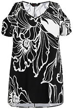 Yoursclothing Plus Size Womens Floral Print Cold Shoulder Top With Step Hem