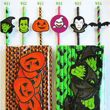 25 pcs Paper Drinking Straws with Sticker Tags For Halloween Party Decoration