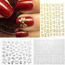 DIYChristmas 3D Bowknot Heart Nail Art Tips Sticker  Decoration Manicure Decals