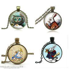 Alice in Wonderland Rabbit Cheshire Cat Glass Pendant Chain Necklace 9 Styles