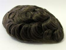 Men's Hairpiece Toupee Dark Golden Brown + A Little Gray 100% Human Hair 710