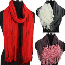 Fashion Women's Winter Warm Wool Color Stitching Tassel Long/Infinity Scarf New