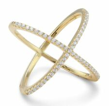 Criss Cross Ring 18 Karat Gold Plated .925 Sterling Silver  'X'  with Signity CZ