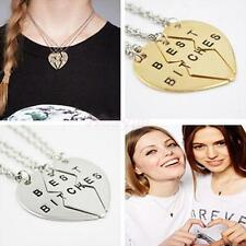 Girls Broken Heart Splicing Pendant Necklace Best Bitches Jewelry Gifts