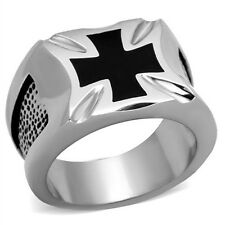 Men's 316L Stainless Steel Black Celtic Iron Cross Fashion Band Ring Size 8-13