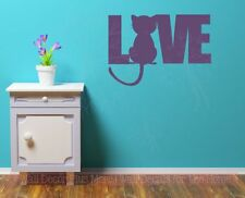 Love Wall Words with Cat Silhouette Wall Art Decal Stickers Vinyl Quotes Pets