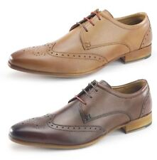 Frank James Leather Brogue 3 Eye Lace Up Mens Shoes Tan or Brown