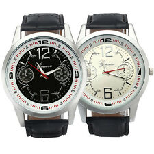 Men Leather Analog Dial Quartz Sport Wrist Watches Men's Fashion Geneva Watches