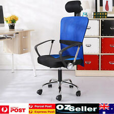 New Executive High Back Mesh Computer Office Chair PU Leather Black free postage