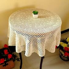 39-63 Inch Beige Round Large Cotton Handmade Crochet Lace Tablecloth Doilies L05
