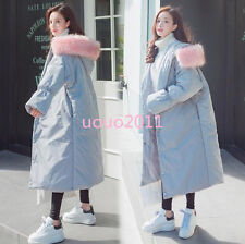 #Womens Girls Loose Down Cotton Big Fur Hooded Long Coat Warm Winter Jacket#