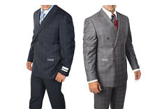 Men's Suit Double Breasted 6 Buttons Classic Fit Window Pane Plaid Navy, Gray