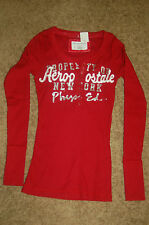NWT Juniors AEROPOSTALE Embroidered Red Ribbed Long Sleeve Stretch Henley S LQQK