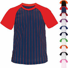 Men Women Baseball Striped Jersey Raglan T-Shirt Team Sport Varsity Uniform Tee