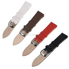 Womens Mens PU Leather Black Brown Red White Wristwatch Watch Strap Band 16-22mm