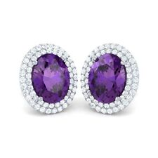 Purple Amethyst FG SI Diamond Oval Shape Gemstone Stud Earrings Women 14K Gold