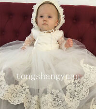 2017 Lace Baby Baptism Dresses Applique Infant Christening Gown Warm Long Sleeve