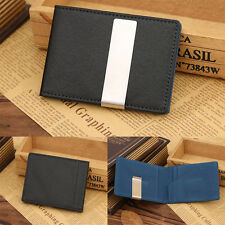 Hot New Fashion Leather Silver Money Clip Bifold Slim Wallet Money Holder Clip