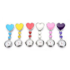 New Heart Shape Pendant Clip-On Brooch Fob Pocket Analog Quartz Nurse Watch LQ