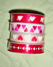 5/8 inch Satin Ribbon*2 SPOOLS*CHOOSE*RED/hearts*WHITE/hearts*Burlap*Organza