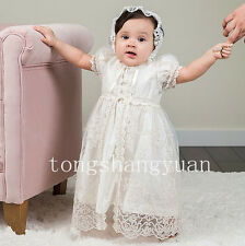 Baby Robe Baptism Dresses Lace Applique White Ivory Infants Christening Gown New