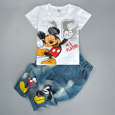 2Pcs Toddler Boys Kids Mickey Short Sleeve T-Shirt Tops+Denim Pants Set Outfits