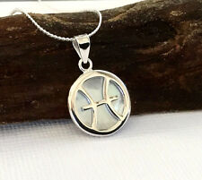 Sterling Silver Mother of Pearl Zodiac Sign Pisces Pendant and Chain Necklace