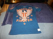 Men's Affliction American Fighter Eagle 74 Distressed Style Blue Thin T Shirt L