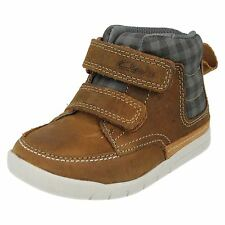 BOYS CLARKS FIRST SHOES RIPTAPE STRAP LEATHER ANKLE BOOTS CRAZY BEN