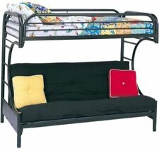 Twin Over Full Futon Bunk Bed Frame Metal Ladder Guard Rails Choose Color NEW