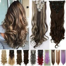 Real Natural 18Clips Clip In On Hair Extensions Highlight Brown Gray As Human FQ
