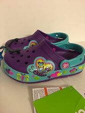Crocs Light Up Purple Pink Blue Butterfly Heart Clogs NWT Girls